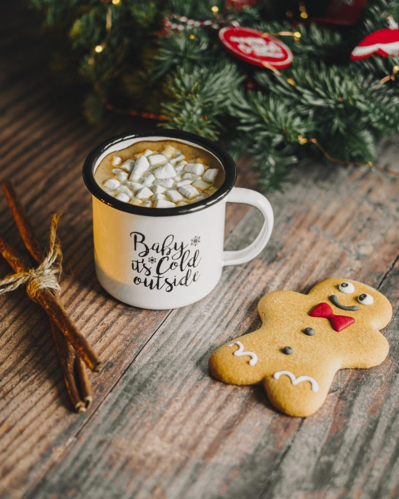 gingerbread man and christmas cup