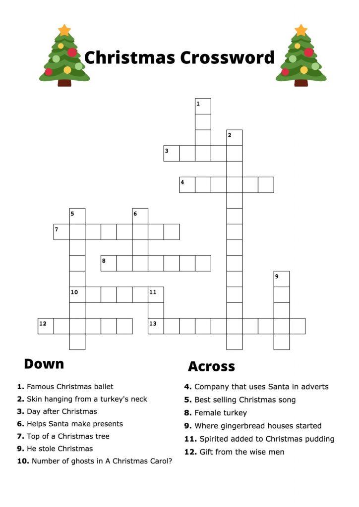 easy free Christmas crossword puzzle