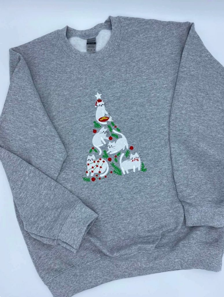 Cat Embroidered Christmas Jumper